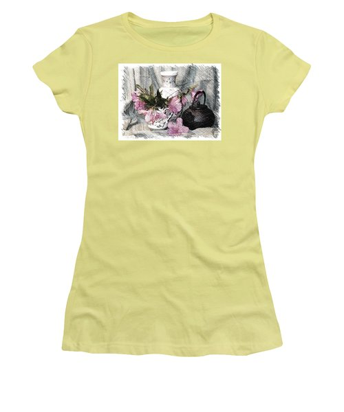 Azaleas And Teapot Women's T-Shirt (Athletic Fit)