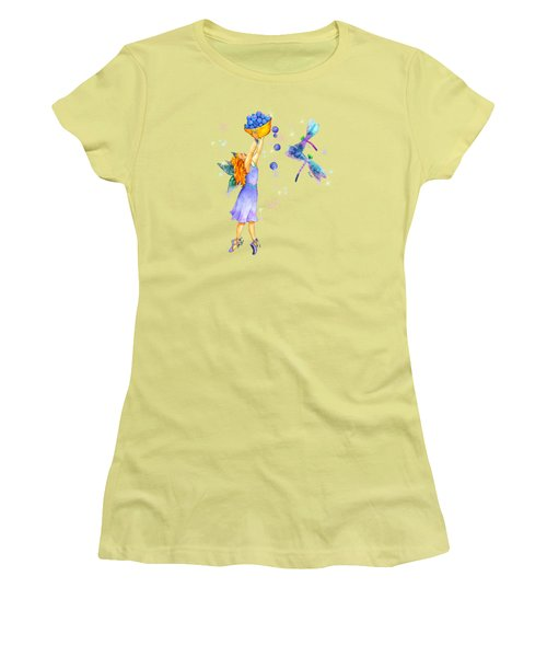 Azuria Blue Twinkle Apparel Design Women's T-Shirt (Junior Cut) by Teresa Ascone