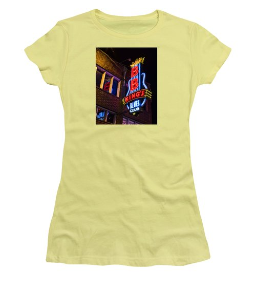 B B Kings On Beale Street Women's T-Shirt (Junior Cut) by Stephen Stookey