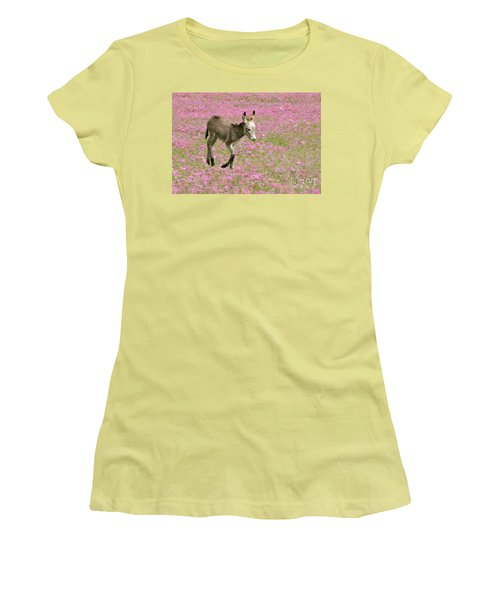 Women's T-Shirt (Junior Cut) featuring the photograph Baby Donkey In The Flowers by Myrna Bradshaw