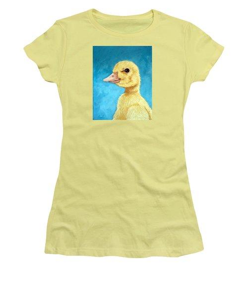 Baby Duck - Spring Duckling Women's T-Shirt (Junior Cut) by Linda Apple