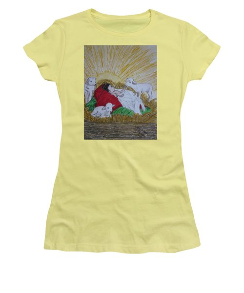 Baby Jesus At Birth Women's T-Shirt (Junior Cut) by Kathy Marrs Chandler