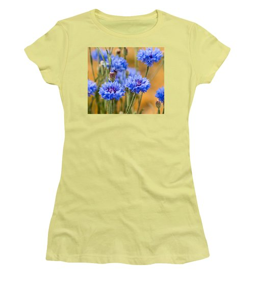 Women's T-Shirt (Junior Cut) featuring the photograph Bachelor Buttons In Blue by E Faithe Lester