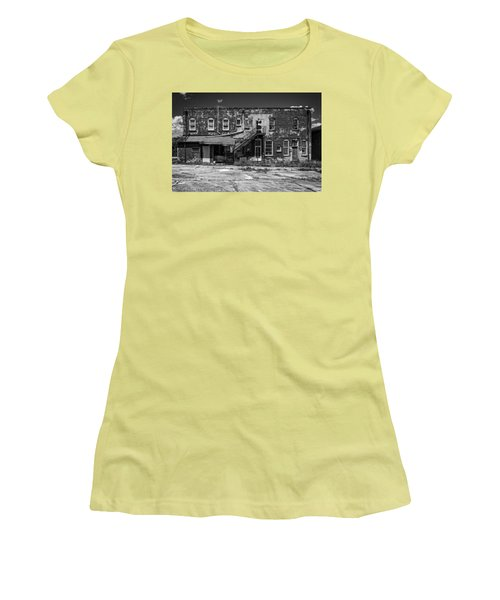 Women's T-Shirt (Junior Cut) featuring the photograph Back Lot - Bw by Christopher Holmes