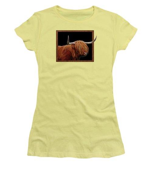 Bad Hair Day - Highland Cow - On Black Women's T-Shirt (Junior Cut) by Gill Billington