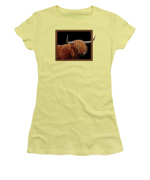 Bad Hair Day - Highland Cow - On Black Women's T-Shirt (Junior Cut)