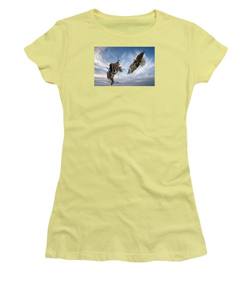 Women's T-Shirt (Junior Cut) featuring the photograph Bald Eagle Landing On Old Nest by Brian Tarr
