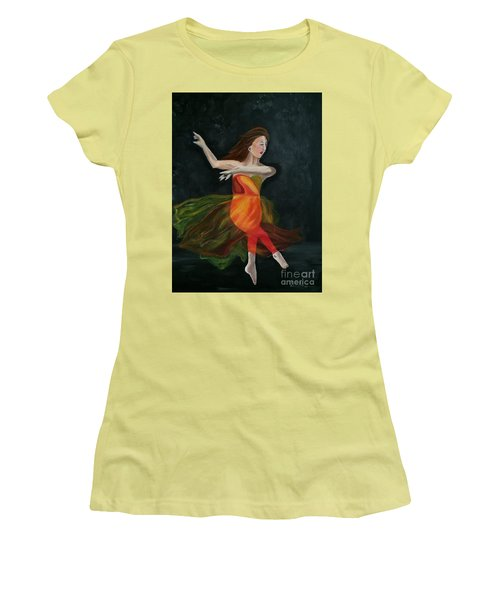 Women's T-Shirt (Junior Cut) featuring the painting Ballet Dancer 2 by Brindha Naveen