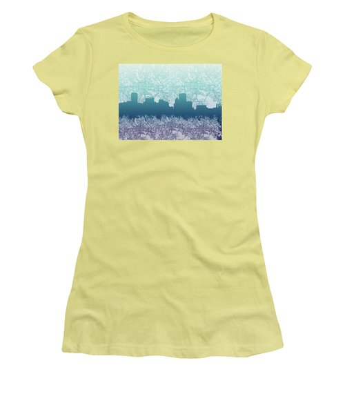 Women's T-Shirt (Junior Cut) featuring the painting Baltimore City Skyline Map 2 by Bekim Art