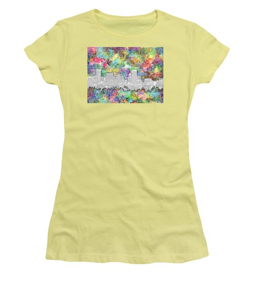 Women's T-Shirt (Junior Cut) featuring the painting Baltimore Skyline Watercolor 12 by Bekim Art