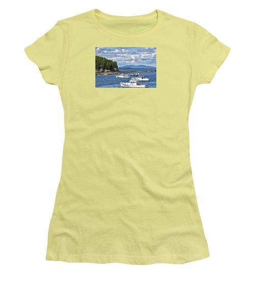 Bar Harbor Lobster Boats - Frenchman Bay Women's T-Shirt (Junior Cut) by Brendan Reals
