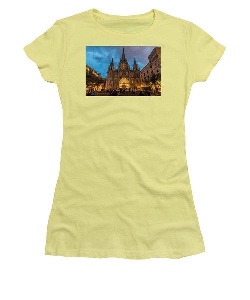 Barcelona Cathedral At Dusk Women's T-Shirt (Junior Cut) by Randy Scherkenbach