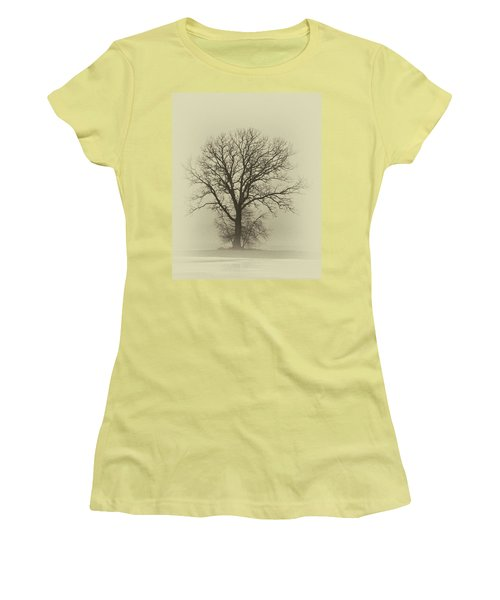Bare Tree In Fog- Nik Filter Women's T-Shirt (Junior Cut) by Nancy Landry