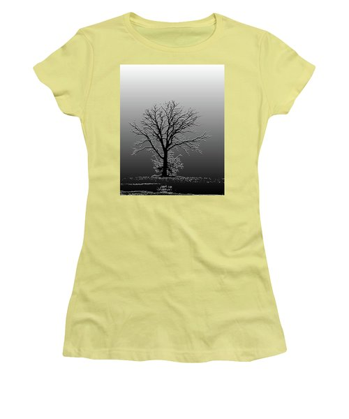 Bare Tree In Fog- Pe Filter Women's T-Shirt (Junior Cut) by Nancy Landry