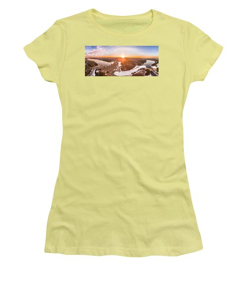 Women's T-Shirt (Junior Cut) featuring the photograph Barkhamsted Reservoir And Saville Dam In Connecticut, Sunrise Panorama by Petr Hejl