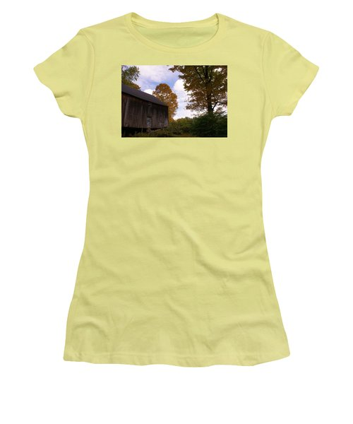 Barn In Fall Women's T-Shirt (Junior Cut) by Lois Lepisto