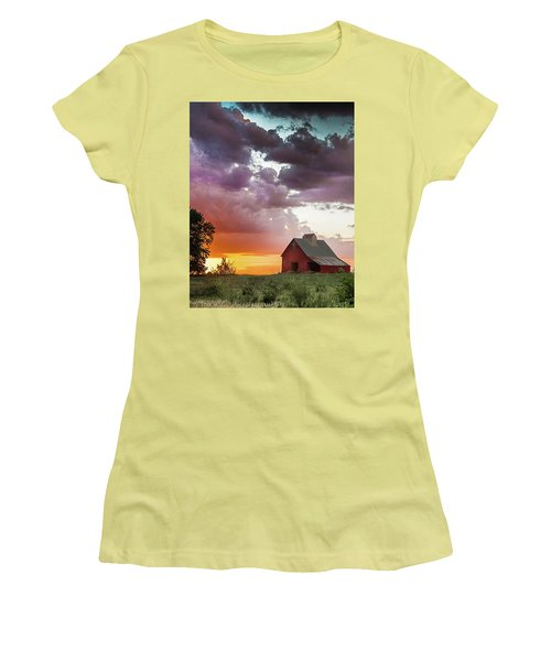 Women's T-Shirt (Junior Cut) featuring the photograph Barn In Stormy Skies by Dawn Romine