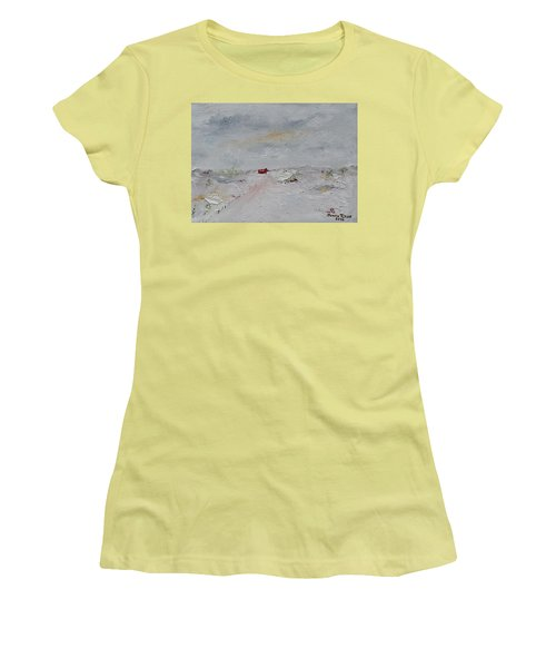 Women's T-Shirt (Athletic Fit) featuring the painting Barn In Winter by Judith Rhue