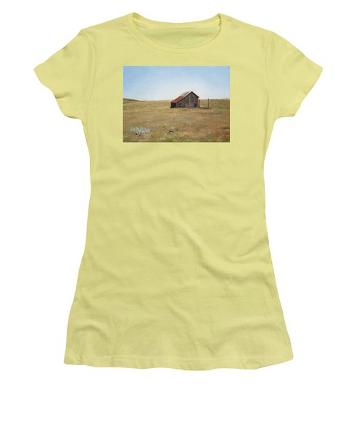 Women's T-Shirt (Junior Cut) featuring the painting Barn by Joshua Martin