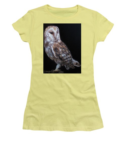 Women's T-Shirt (Junior Cut) featuring the painting Barn Owl by Cherise Foster