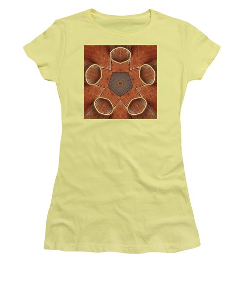 Barn Wood Kaleidoscope 2  Women's T-Shirt (Junior Cut) by Peter J Sucy
