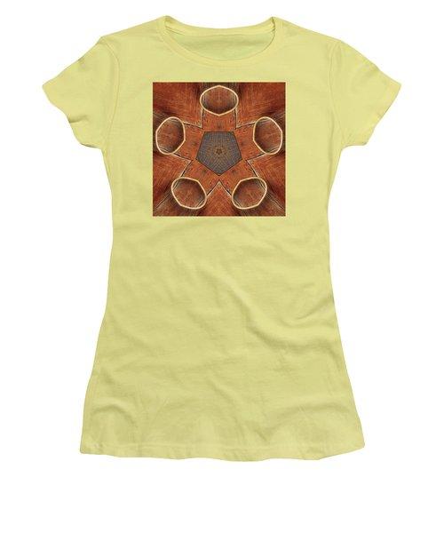 Barn Wood Kaleidoscope 2  Women's T-Shirt (Athletic Fit)