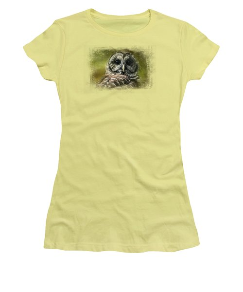 Barred Owl In The Grove Women's T-Shirt (Junior Cut) by Jai Johnson