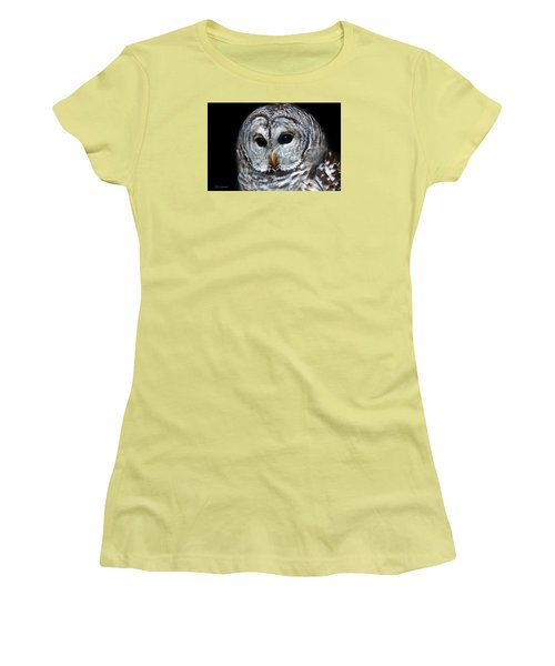 Barred Owl Portrait Women's T-Shirt (Junior Cut) by CR  Courson