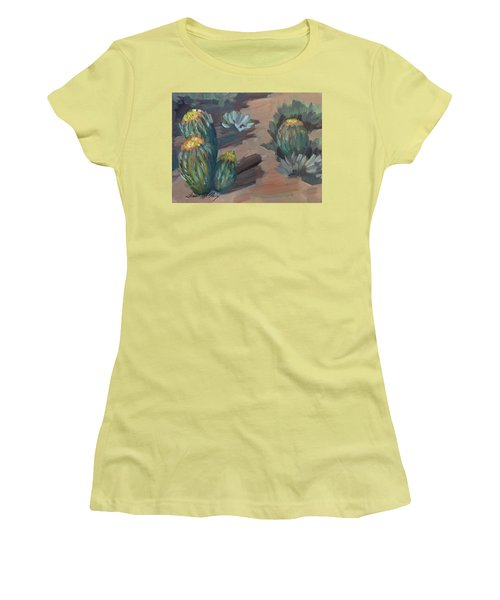 Women's T-Shirt (Junior Cut) featuring the painting Barrel Cactus At Tortilla Flat by Diane McClary
