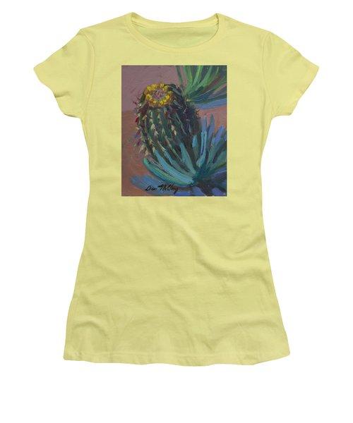 Barrel Cactus In Bloom - Boyce Thompson Arboretum Women's T-Shirt (Junior Cut) by Diane McClary