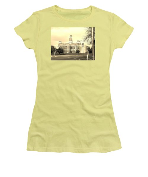 Bartholomew County Courthouse Columbus Indiana - Sepia Women's T-Shirt (Junior Cut) by Scott D Van Osdol