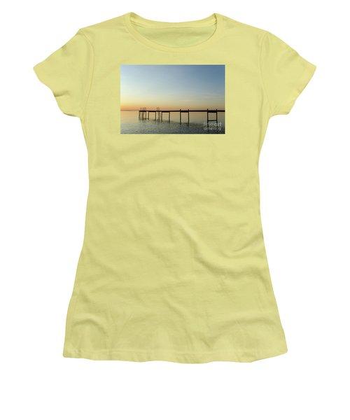 Women's T-Shirt (Junior Cut) featuring the photograph Bath Pier Silhouette by Kennerth and Birgitta Kullman