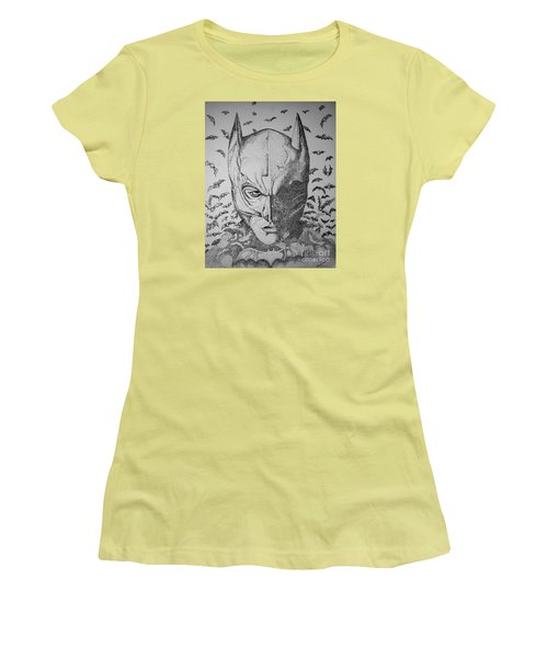 Women's T-Shirt (Junior Cut) featuring the drawing Batman Flight by Tamyra Crossley