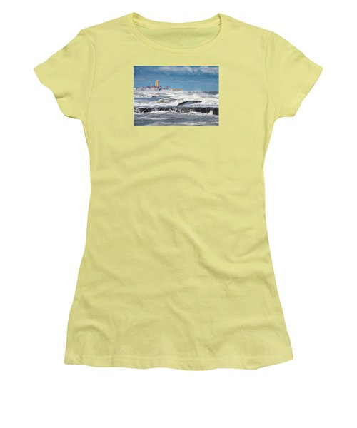 Women's T-Shirt (Junior Cut) featuring the photograph Battering The Seawall At Shark River Inlet by Gary Slawsky