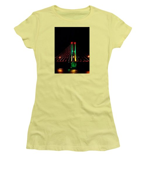 Bay View Christmas Lights Women's T-Shirt (Junior Cut) by Justin Moore