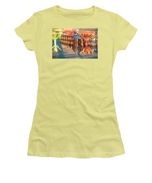 Beach Bar Morning Women's T-Shirt (Junior Cut) by Glenn Gemmell