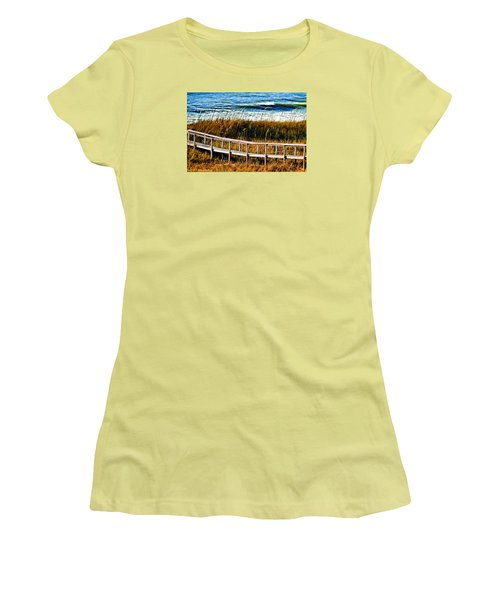 Women's T-Shirt (Junior Cut) featuring the photograph Beach Boardwalk by Laura Ragland