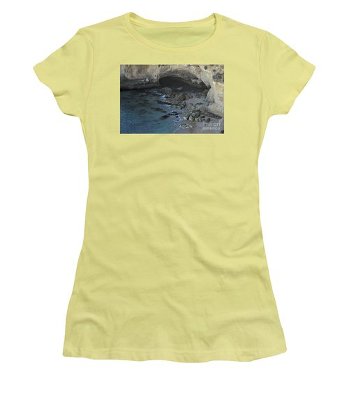 Beach Cave From The Cliffs In Malhada Do Baraco Women's T-Shirt (Junior Cut) by Angelo DeVal