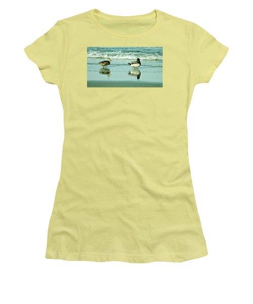 Beach Ducks Women's T-Shirt (Junior Cut) by John Wartman