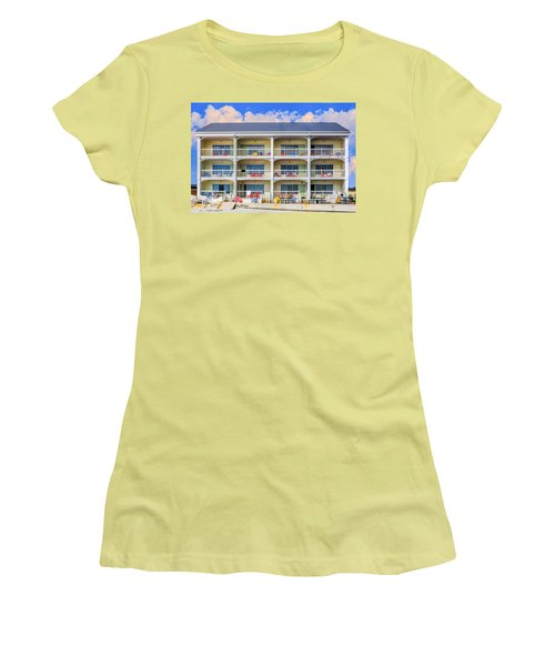 Beach Front Hotel Women's T-Shirt (Junior Cut) by Robert FERD Frank
