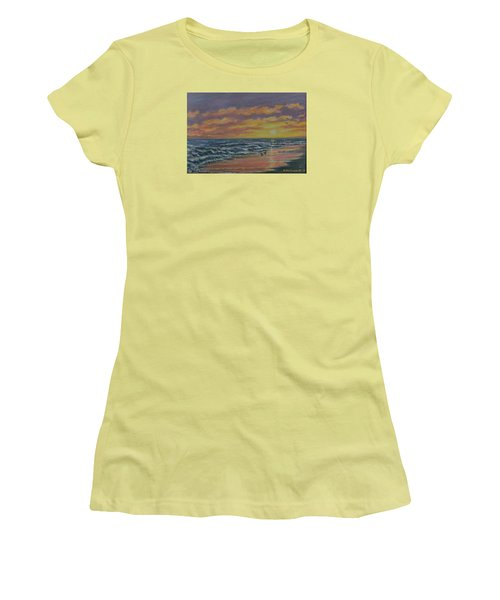 Women's T-Shirt (Junior Cut) featuring the painting Beach Glow by Kathleen McDermott