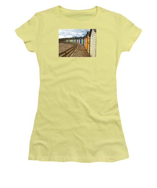 Women's T-Shirt (Junior Cut) featuring the photograph Beach Huts by RKAB Works