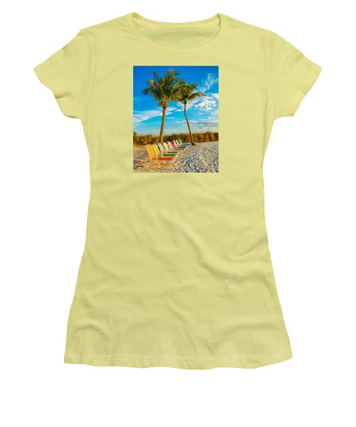 Beach Lounges Under Palms Women's T-Shirt (Athletic Fit)
