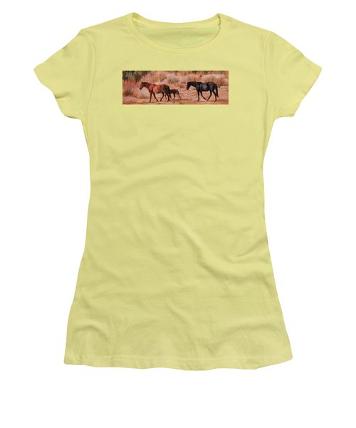 Beach Ponies - Wild Horses In The Dunes Women's T-Shirt (Athletic Fit)