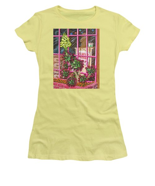 Women's T-Shirt (Junior Cut) featuring the painting Beach Side Storefront Window by Katherine Young-Beck