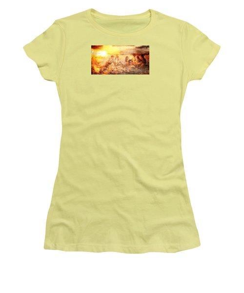 Beach Sunset With Friends Women's T-Shirt (Junior Cut) by Andrea Barbieri