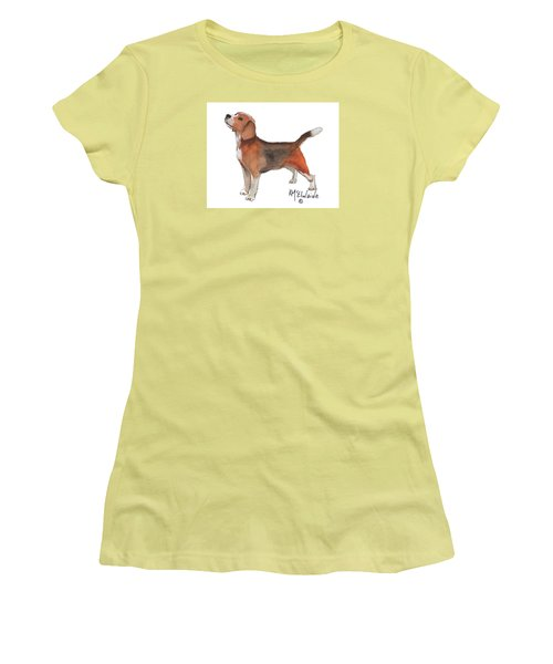 Beagle Watercolor Painting By Kmcelwaine Women's T-Shirt (Athletic Fit)