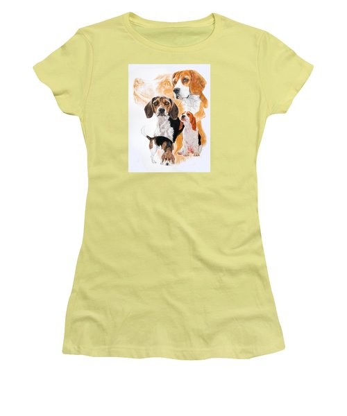 Beagle W/ghost Women's T-Shirt (Junior Cut) by Barbara Keith