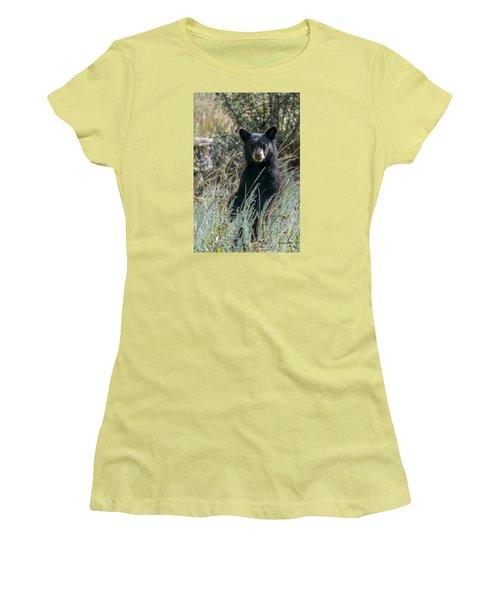 Women's T-Shirt (Junior Cut) featuring the photograph Bear Cub At Waterton Canyon by Stephen  Johnson
