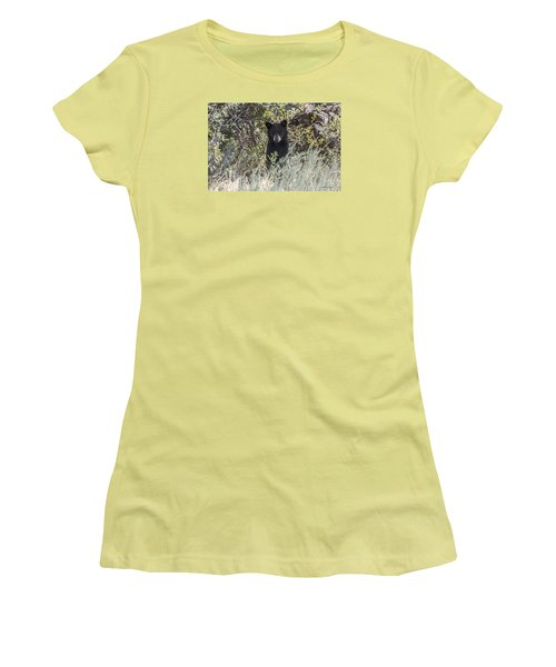 Women's T-Shirt (Junior Cut) featuring the photograph Bear Cub Looking For Mom by Stephen  Johnson